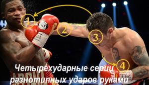 Четырехударные комбинации разнотипных ударов руками
