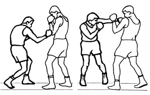 Комбинация: снизу правой по корпусу — боковой левой в голову