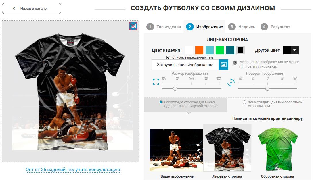 Онлайн сервис печати изображений на футболках по собственному дизайну