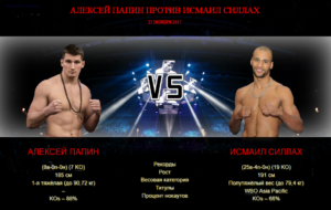 Афиша - бой Алексей Папин против Исмаил Силлах