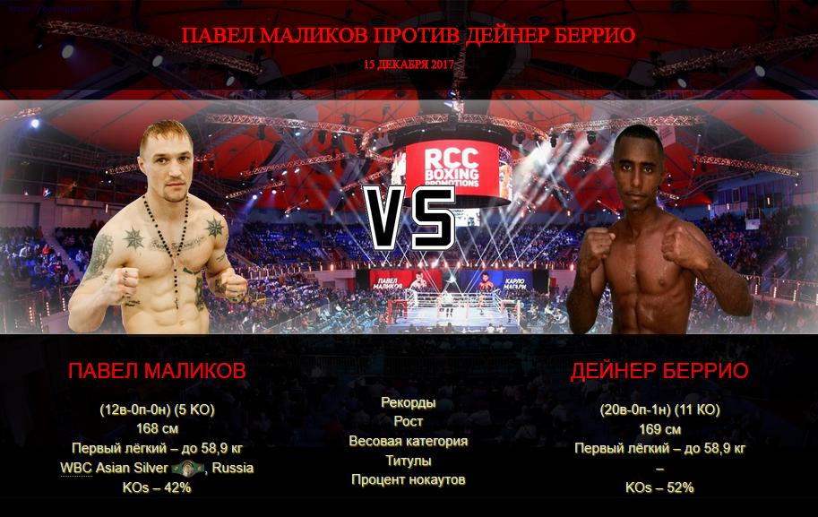 Афиша - бой Павел Маликов против Дейнер Беррио