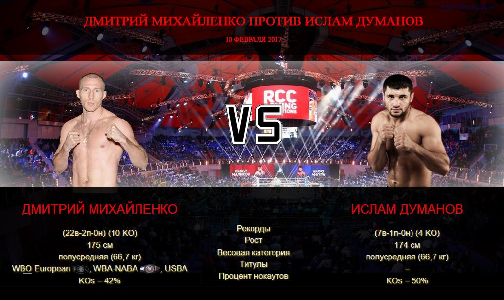 Афиша - бой Дмитрий Михайленко против Ислам Думанов