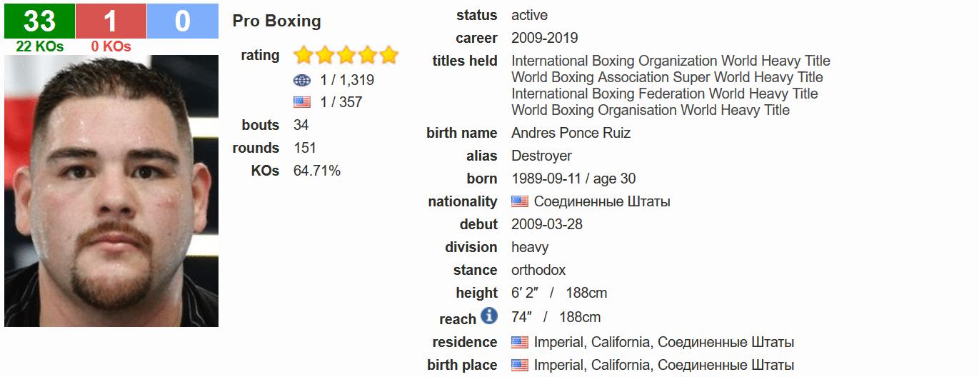 Andy Ruiz Jr BoxRec