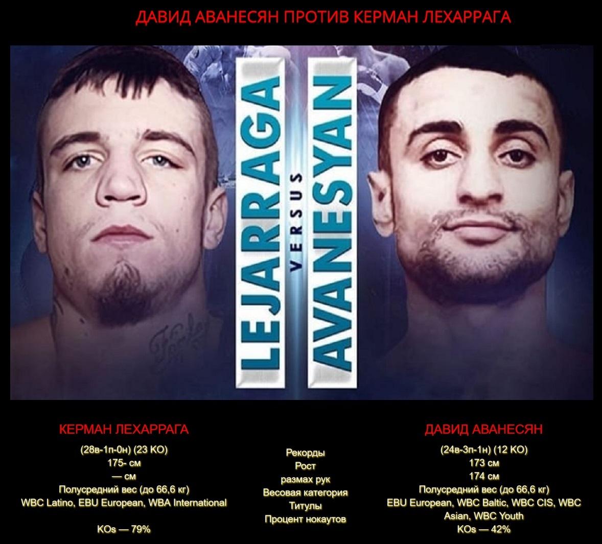 Афиша: Бой Давид Аванесян - Керман Лехаррага 2 - реванш / David Avanesyan vs Kerman Lejarraga