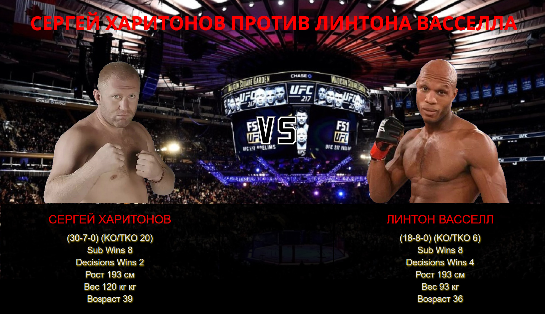 Видео боя Сергей Харитонов - Линтон Вэсселл