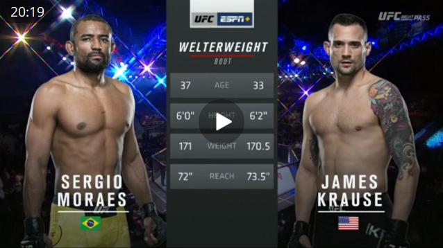 Видео боя Серхио Мораес - Джеймс Крауз / UFC Fight Night 164