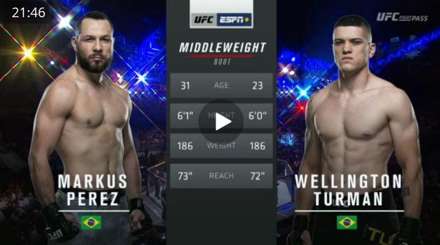 Видео боя Маркус Перес - Веллингтон Турман / UFC Fight Night 164