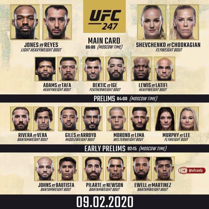Файт кард турнира UFC 247 Jones vs. Reyes