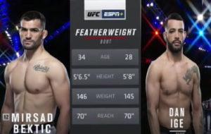 Видео боя Мирсад Бектич - Дэн Идж / UFC 247