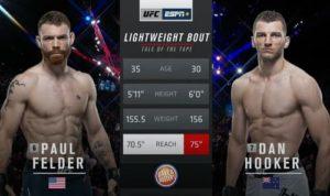 Видео боя Пол Фельдер - Дэн Хукер / UFC Fight Night 168