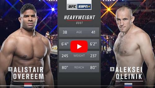 Видео боя Алистер Оверем - Алексей Олейник / UFC Fight Night 149