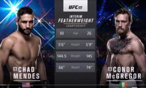 Видео боя Конор Макгрегор - Чед Мендес / UFC 189