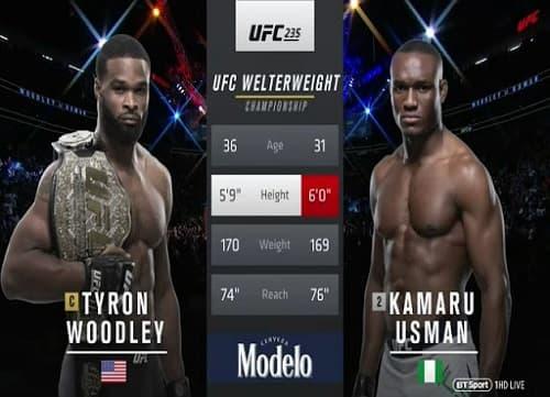 Видео боя Камару Усман - Тайрон Вудли / UFC 235