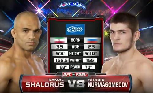 Видео боя Хабиб Нурмагомедов - Камал Шалорус / UFC on FX