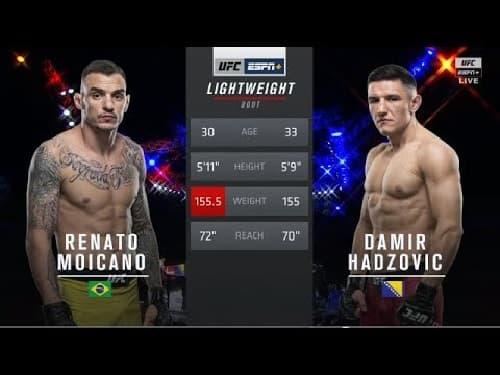 Видео боя Ренато Мойкано - Дамир Хаджович / UFC Fight Night 170