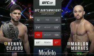 Видео боя Генри Сехудо - Марлон Мораис / UFC 238