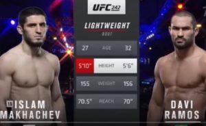 Видео боя Ислам Махачев - Дави Рамос / UFC 242