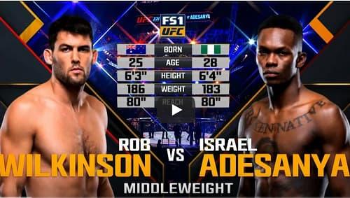 Видео боя Израиль Адесанья - Роб Уилкинсон / UFC 221