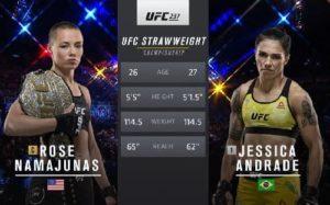 Видео боя Роуз Намаюнас - Джессика Андрадэ / UFC 237