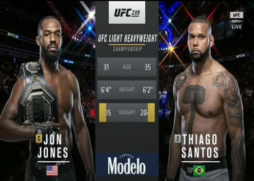 Видео боя Джон Джонс - Тиагу Сантус / UFC 239