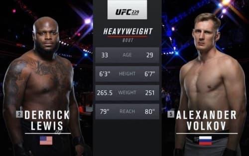 Видео боя Александр Волков - Деррик Льюис / UFC 229
