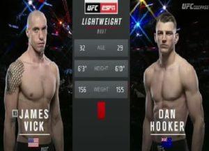 Видео боя Дэн Хукер - Джеймс Вик / UFC on ESPN