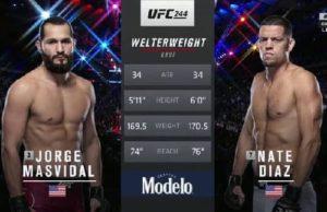 Видео боя Хорхе Масвидаль - Нейт Диас / UFC 244