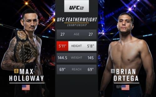 Видео боя Макс Холлоуэй - Брайан Ортега / UFC 231