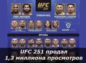 UFC 251 продал около 1,3 миллиона просмотров