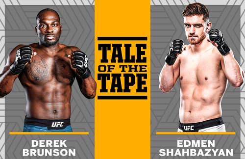 Видео боя Дерек Брансон - Эдмен Шахбазян / UFC Fight Night