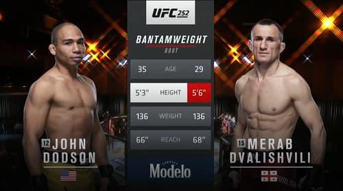 Видео боя Джон Додсон - Мераб Двалишвили / UFC 252