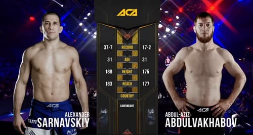 Видео боя Абдул-Азиз Абдулвахабов - Александр Сарнавский / ACA 111