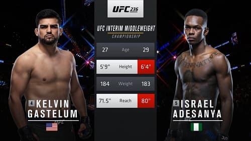 Видео боя Исраэль Адесанья - Келвин Гастелум / UFC 236