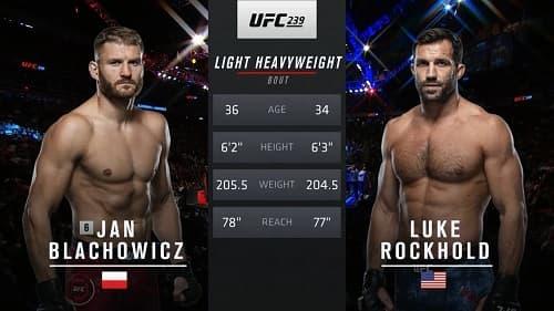 Видео боя Ян Блахович - Люк Рокхолд / UFC 239