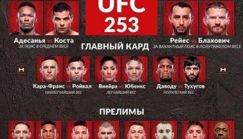 UFC 253 — Кард турнира
