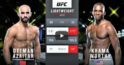 Видео боя Оттман Азайтар - Хама Уорти / UFC Fight Night 177