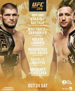 Кард турнира UFC 254