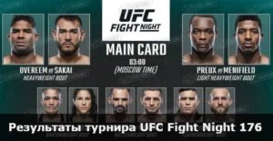 Результаты турнира UFC Fight Night 176