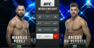 Видео боя Маркус Перес - Дрикус дю Плесси / UFC Fight Night 179