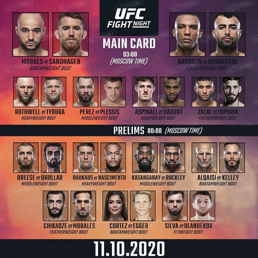 UFC Fight Night 179: Мораес - Сэндхаген / Файт Кард