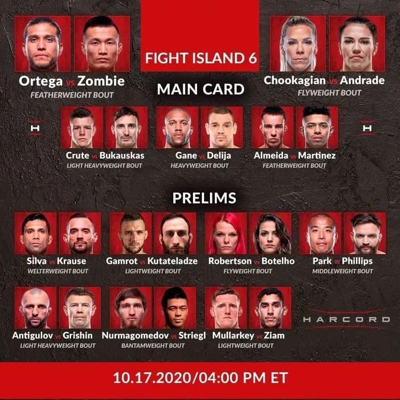 Кард турнира UFC Fight Island 6