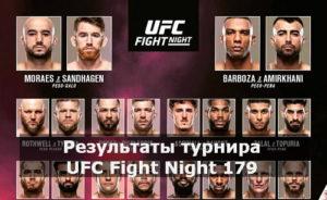 Результаты турнира UFC Fight Night 179