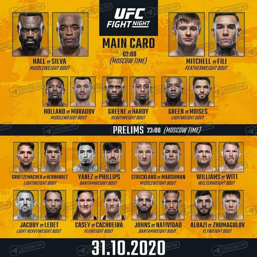 Кард турнира UFC Fight Night 181