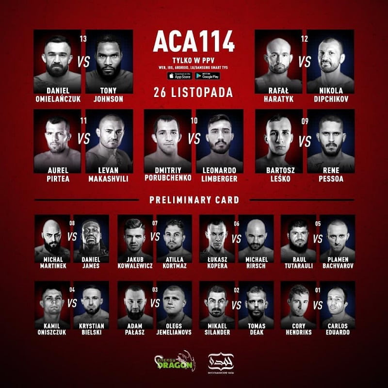 ACA 114: Омельянчук — Джонсон / кард турнира