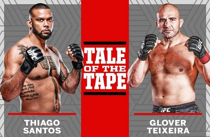 Видео боя Тиаго Сантос - Гловер Тейшейра / UFC Vegas 13