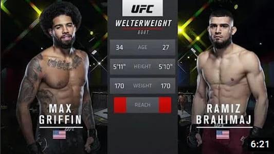 Видео боя Макс Гриффин - Рамиз Брахимай / UFC Vegas 13