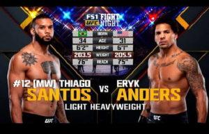 Видео боя Тьяго Сантос - Эрик Андерс / UFC Fight Night 137