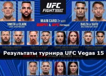 Результаты турнира UFC Vegas 15