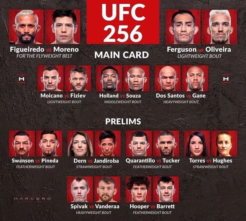 Файт кард UFC 256