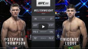 Видео боя Стивен Томпсон - Висенте Луке / UFC 244
